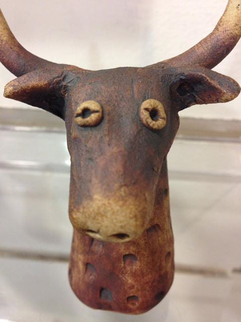 """Mooo, I'm a Sarah Robley handmade ceramic bull, and I've just been fired!!"""