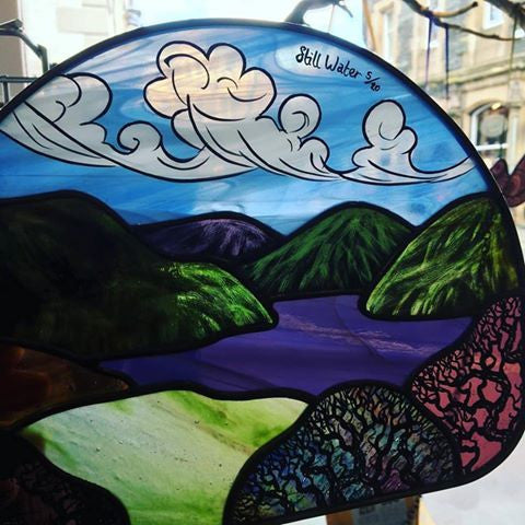 ‪Not surprising on this sunny day 'still water' a stained glass piece by Juliet Forrest has found a new home!
