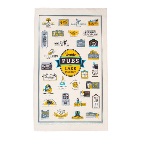 Iconic Pubs of the Lake District Tea Towel