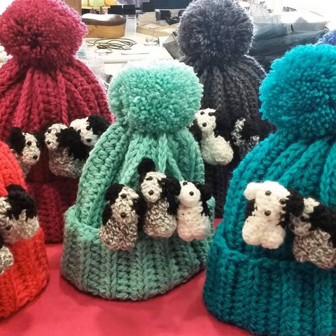 Trio Zak the Collie Dog Hats - Hand crocheted British Wool by Mavis Plant Fibre Artist