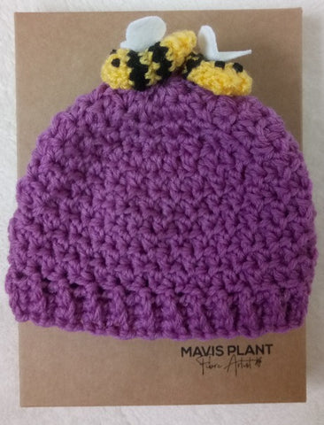 Baby Bee Hat - hand crocheted by Mavis Plant Fibre Artist