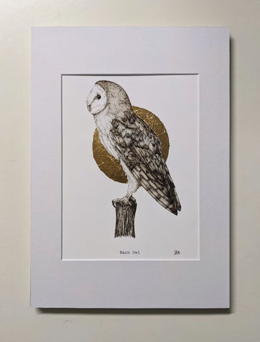 'Barn Owl' - Fine Art Print Embossed with Gold by Dais SB Art