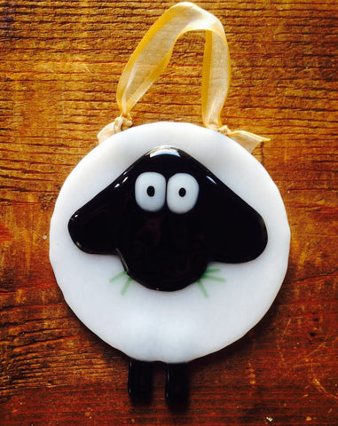 FF, Jo Garfield, Fantastical Fusion, fused glass, glass, handmade, ornament, sheep, hanging