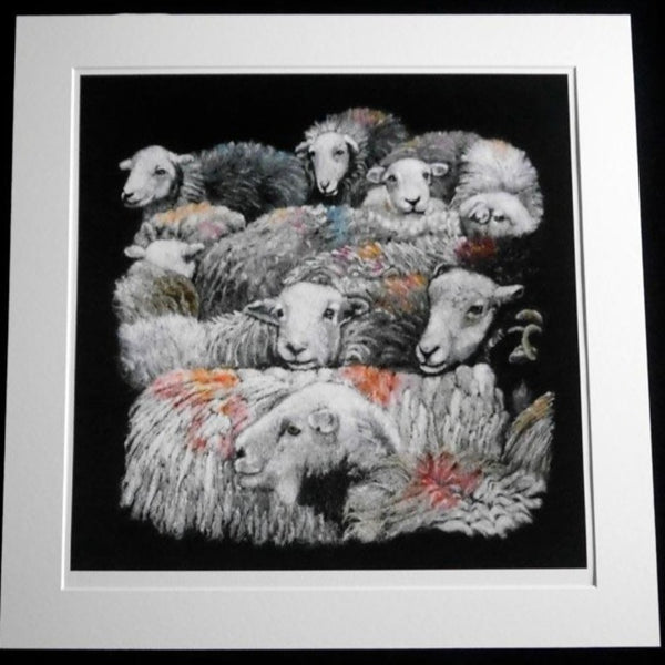 Fine Art Print of 'Flock' - an Original Wool Painting by Fell View Felting