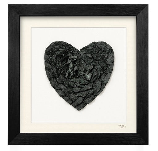 Small Slate Heart Mosaic - Lakeland Slate Artwork by Terry Hawkins