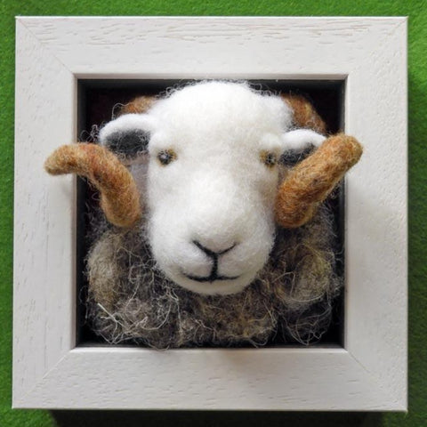 Herdwick Tup - Needle Felted in Small Box Frame by Fell View Felting