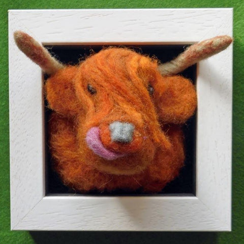 Highland Cow - Needle Felted in Small Box Frame by Fell View Felting