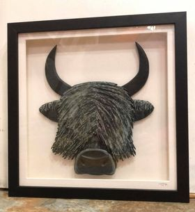 Highland Cow (med) - Lakeland Slate Artwork by Terry Hawkins