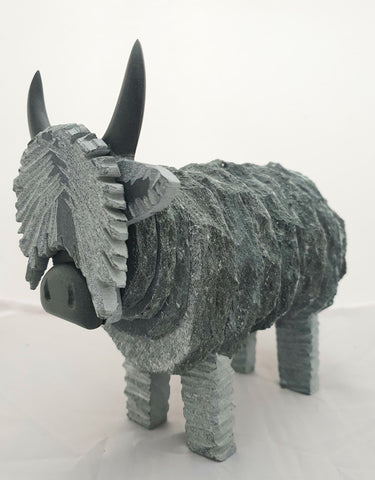 Small Highland Cow Sculpture - Lakeland Slate Sculpture by Terry Hawkins