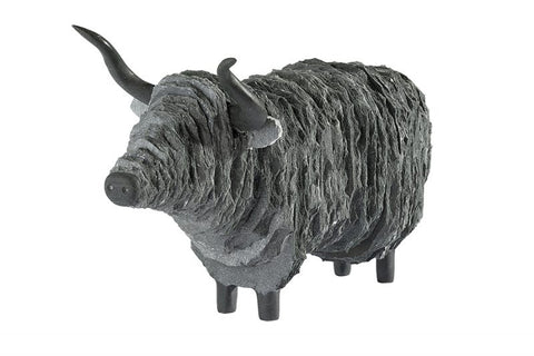 Large Highland Cow Sculpture - Lakeland Slate Sculpture by Terry Hawkins