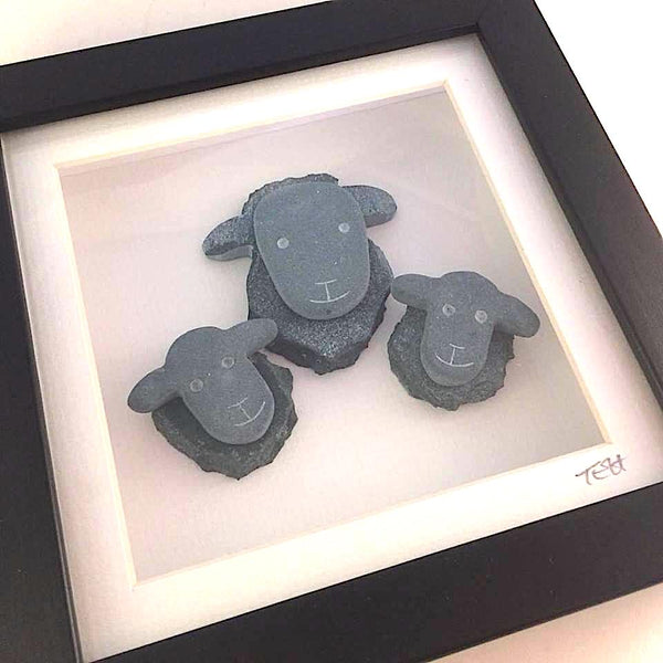 Small Framed Lakeland Slate Sheep - Lakeland Slate Artwork by Loving Slate