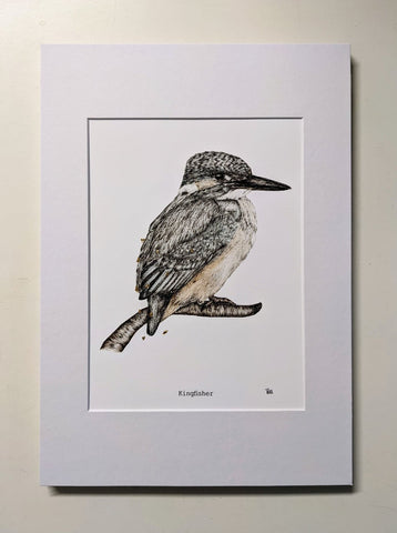 'Kingfisher' - Fine Art Print Embossed with Gold by Dais SB Art