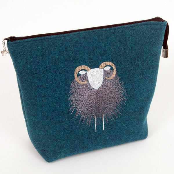 Harris Tweed Make-Up / Project Bag - Herdwick Embroidered - LARGE