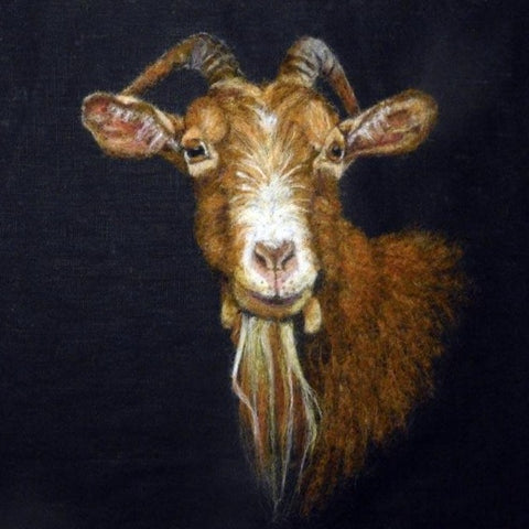 'Golden Guernsey Goat' - Wool Painting by Fell View Felting