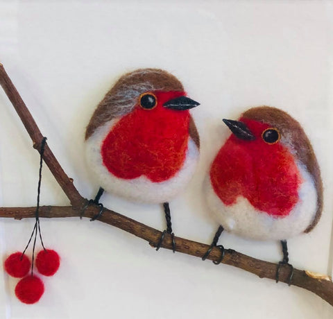 Needle felted Birds by Kate Boulter Felt Art & Embroidery