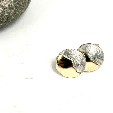 Silver and 9ct Gold Mountain Stud Earrings by Brightstar 109