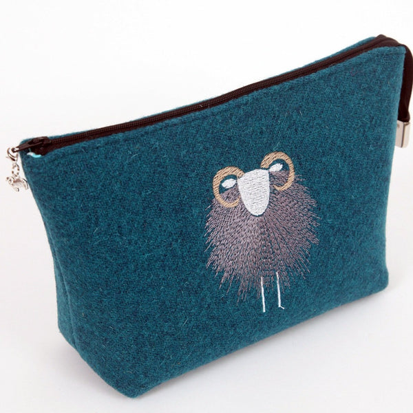 Harris Tweed Make-Up / Project Bag - Herdwick Embroidered - SMALL