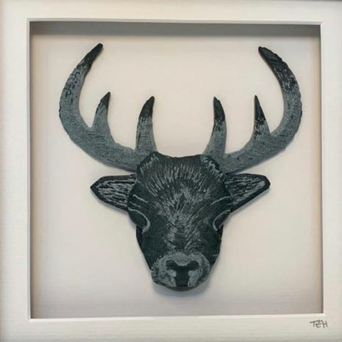 Lakeland Slate Stag - Framed - Lakeland Slate Artwork by Terry Hawkins
