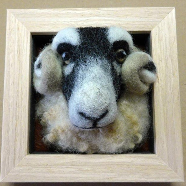 Swaledale Sheep - Needle Felted in Small Box Frame by Fell View Felting