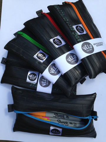 VC, Bev Martin, VeloCulture, inner tube, cycling, biking, cyclists, handmade, recycled, practical, Puncture Pouch, pencil case, upcycled