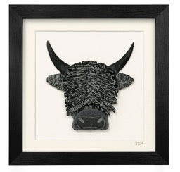 A Wee Highland Cow - Lakeland Slate Artwork by Terry Hawkins