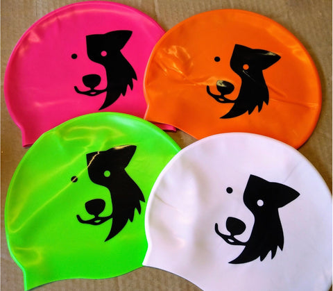 'Zak Swim Cap' - flat silicone Zak the Collie Dog swim cap