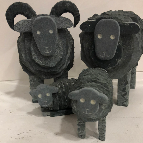 Herdwick Ram, Ewe & Lamb Sculptures - Lakeland Slate Artwork by Loving Slate