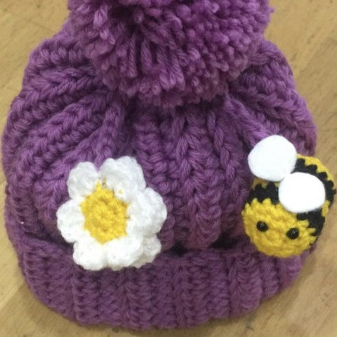 Bee & Flower - Kids - Hand crocheted British Wool by Mavis Plant Fibre Artist