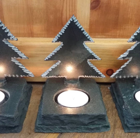 Christmas Tree Candle Light Sculpture - Lakeland Slate Artwork by Terry Hawkins