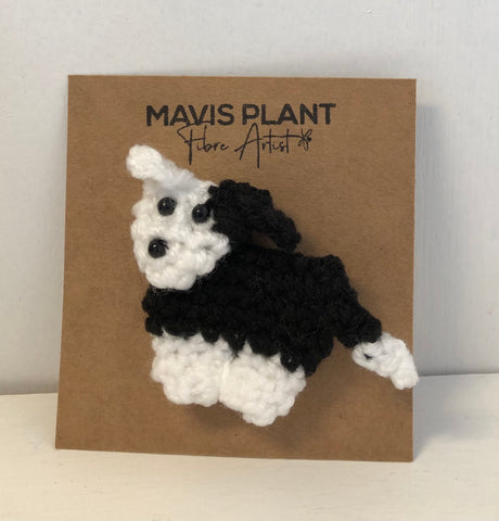 Zak the Collie Dog Brooch - hand crocheted by Mavis Plant Fibre Artist