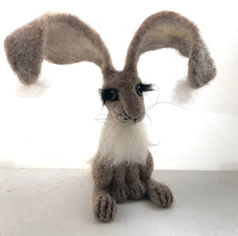 Needle felted Grey pale Hare by Night Owl Needle Felts
