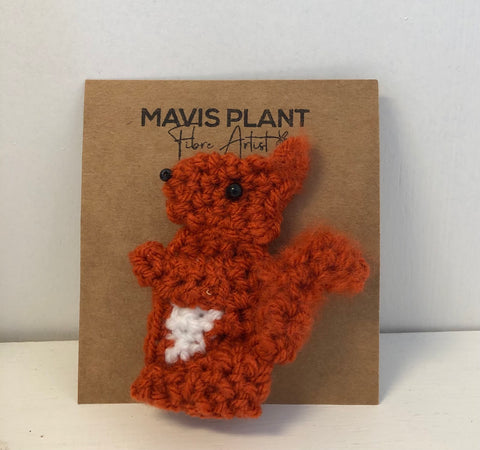 Squirrel Brooch - hand crocheted by Mavis Plant Fibre Artist