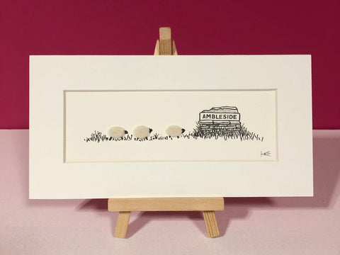 Mini Felt & Ink Prints on Easels by Kate Boulter Felt Art & Embroidery