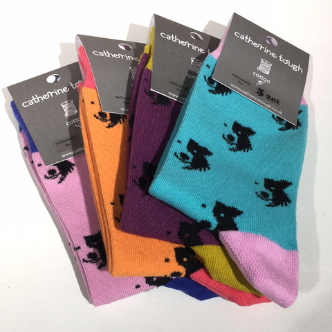 Awesome Socks - Women's cotton Zak the Collie Dog Socks