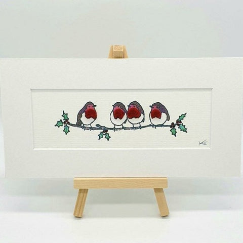 Robins - Mini Felt & Ink Print on Easel by Kate Boulter Felt Art & Embroidery