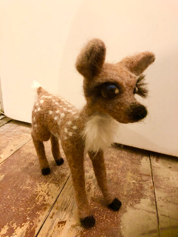 Needle felted Fawn by Night Owl Needle Felts