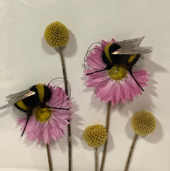 Felted Bees with Dried Flowers by Kate Boulter Felt Art & Embroidery
