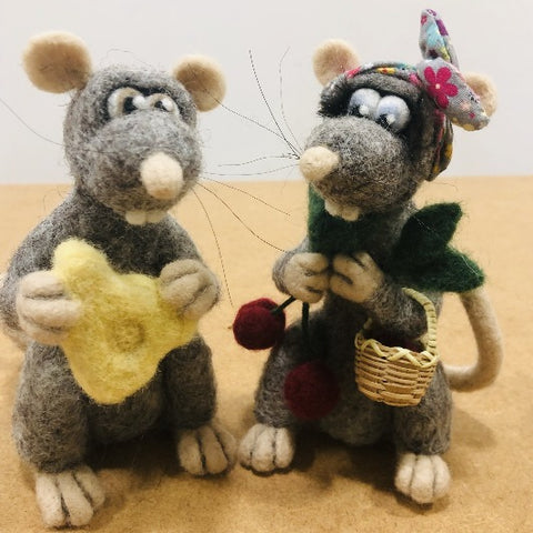 Mr & Mrs Rat - needle felted by Night Owl Needle Felts