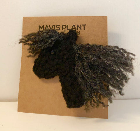 Cumbrian Fell Pony Brooch - hand crocheted by Mavis Plant Fibre Artist