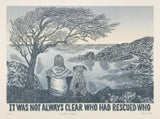 Who Rescued Who?  - Limited Edition Linoprint