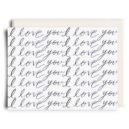 Inkwell Cards - Greeting Card - I Love You - Cursive Script