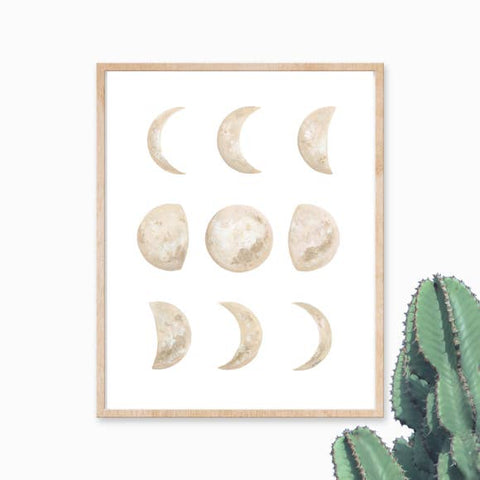 "Katelyn Morse - Art Print - Moon Phase - Neutral - 11"" x 14"""