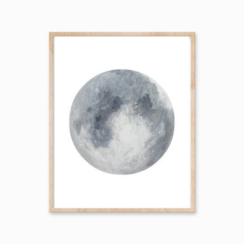 "Katelyn Morse - Art Print - Grey Moon - 11"" x 14"""