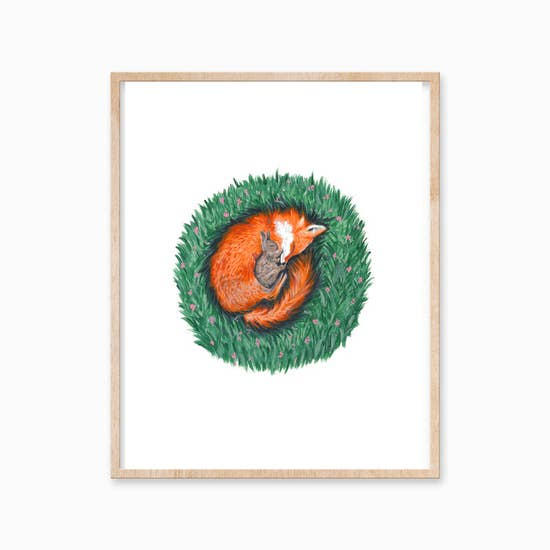"Katelyn Morse - Art Print - Fox & Rabbit 11""x14"""