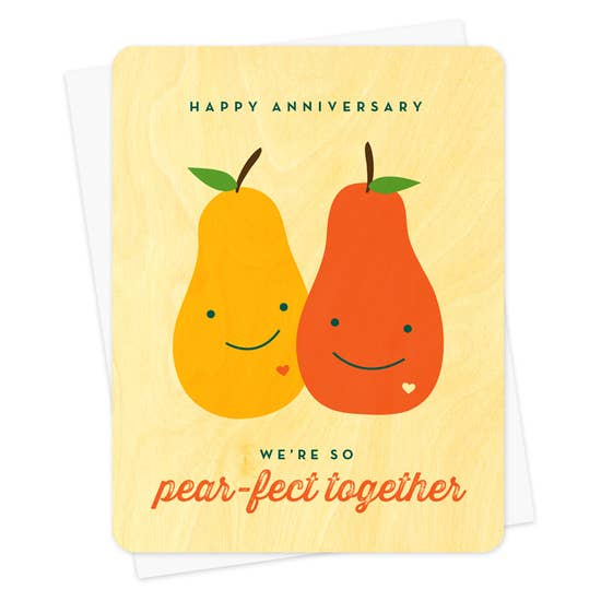 Night Owl Goods Greeting Card Wooden Happy Anniversary We're So Pear-Fect Together