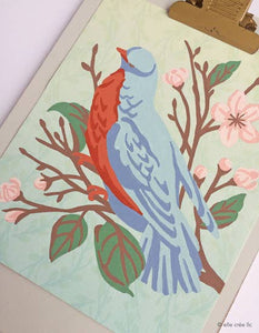 elle crée Bird on a Cherry Blossom Branch Paint-by-Number Kit