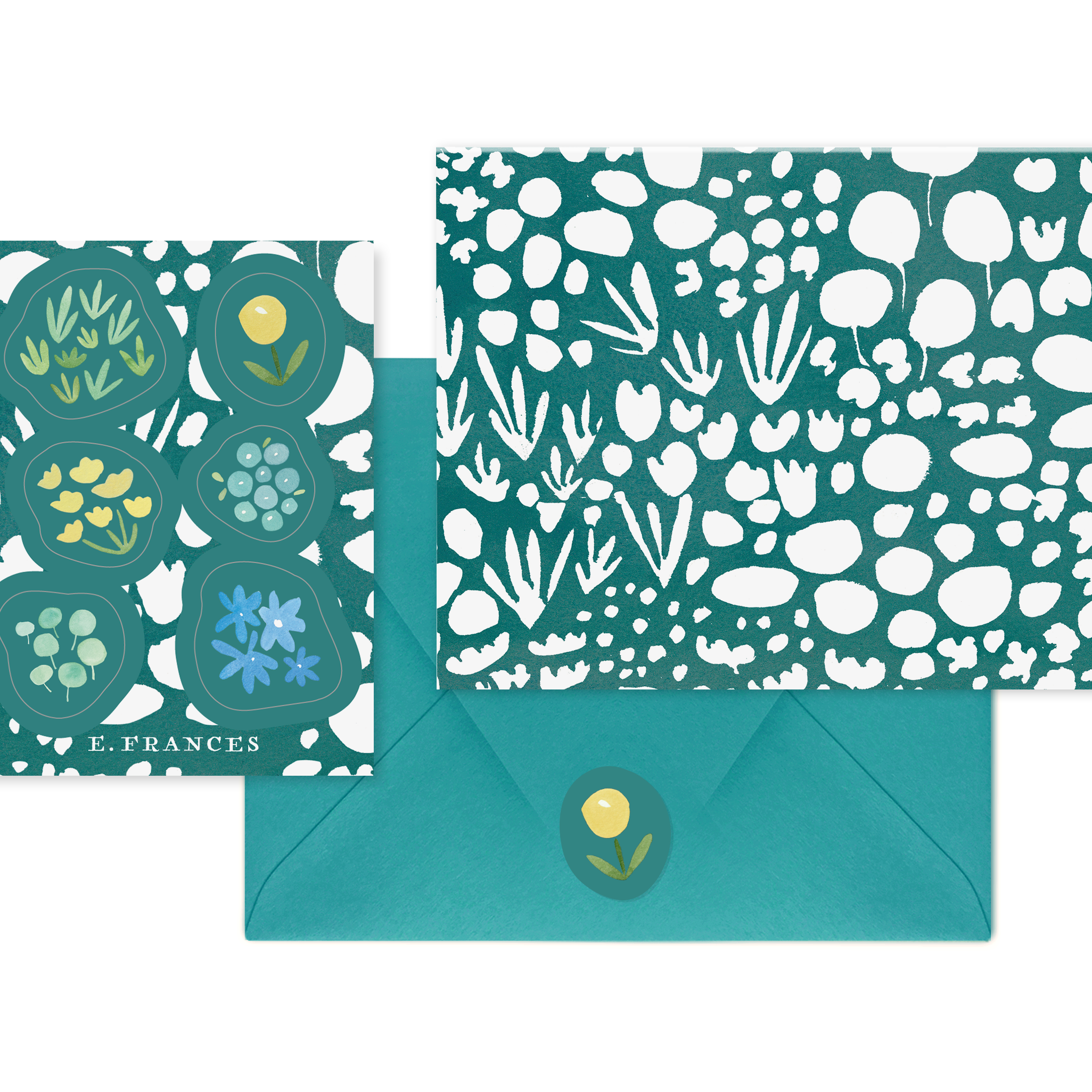 E Frances - Boxed Notes - Green Meadow + Stickers