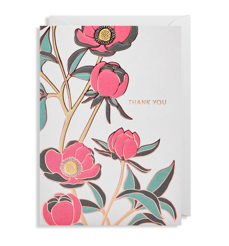 Lagom - Greeting Card - Thank You - Pink Flowers