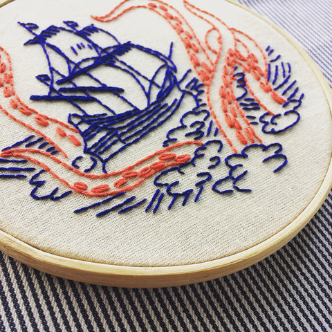 Hook, Line & Tinker - Embroidery Kit - Release The Kraken