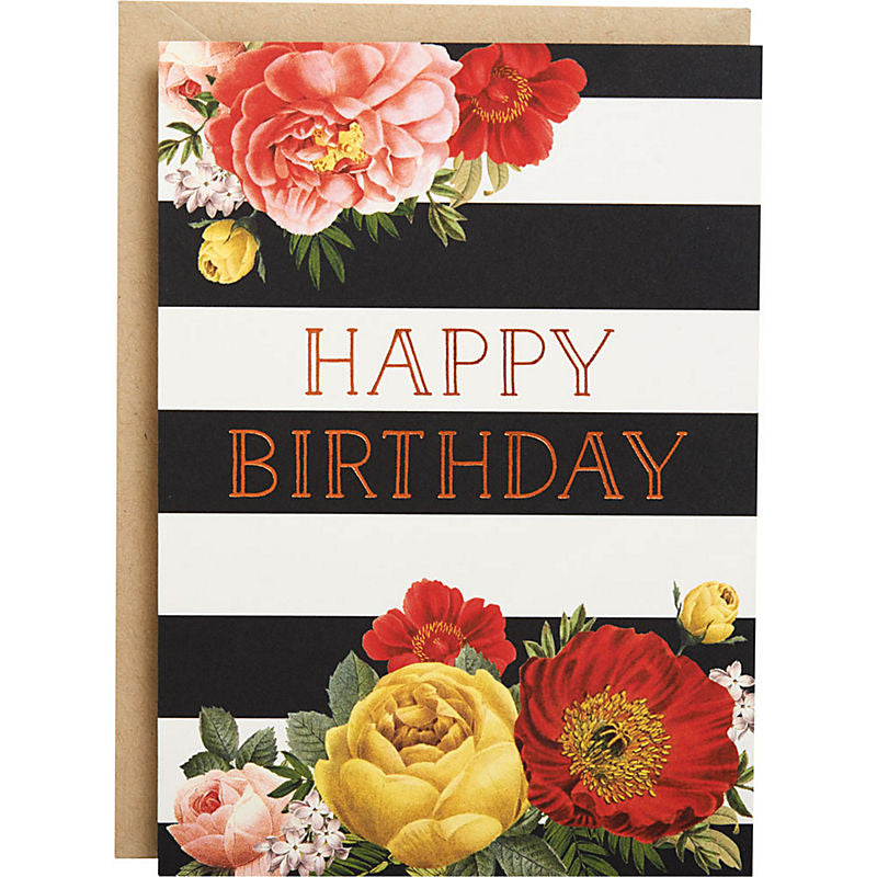 Paper Source - Greeting Card - Floral Stripe Foil